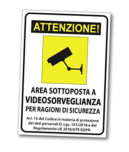 Adesivo Cartello Area videosorvegliata sottoposta a videosorveglianza - Cartello Area VIDEOSORVEGLIANZA Adesivo,TARGHETTA,Targa ATTENZIONE