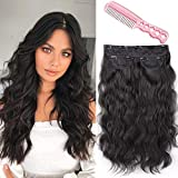 LNERATO Long Wavy Hair Extensions Clip in Black Hair Extensions Synthetic Hair pieces for Women Girls 3PCS Full Head Set Thick Curly Wavy Synthetic Hair Extensions 20inch 260g