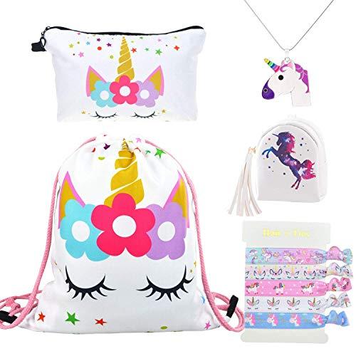 DRESHOW 5 Paquete Lindo Unicornio Mochila con cordón/Maquillaje/PU Monedero Bolsos de embrague/Collar...