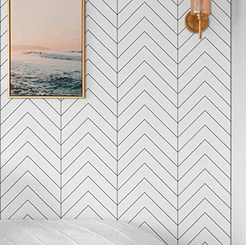 Black and White Wallpaper Geometric Peel and Stick Wallpaper Modern Herringbone Trellis Strip product image
