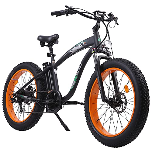 """ECOTRIC UL Certified - Powerful Fat Tire Electric Bicycle 26"""" Aluminium Frame Suspension Fork Beach Snow Ebike Electric Mountain Bicycle 750W Motor 48V 13AH Removable Lithium Battery (Orange)"""