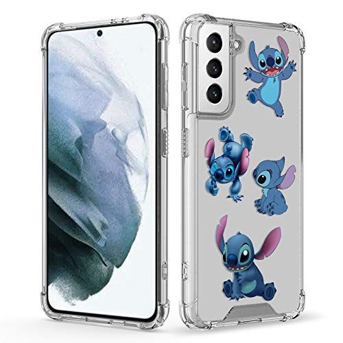 DISNEY COLLECTION Case for Galaxy S21 Ultra 5G Lilo Stitch,TPU+PC Slim Shockproof Transparent Bumper Protective Cute Phone Cover Case for Samsung Galaxy S21 Ultra 5G