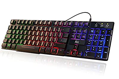 Updated Rii RK100 Plus 7 Color Rainbow LED Backlit Mechanical Feeling USB Wired Gaming Keyboard Black UK Layout