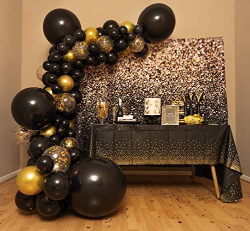 4 Size– Balloon Garland Kit Black and Gold – Black and Gold Balloons Party Decorations – Balloon Arch for Gold and Black Birthday, Graduation, New Years, Retirement, Wedding, Anniversary, Bachelorette