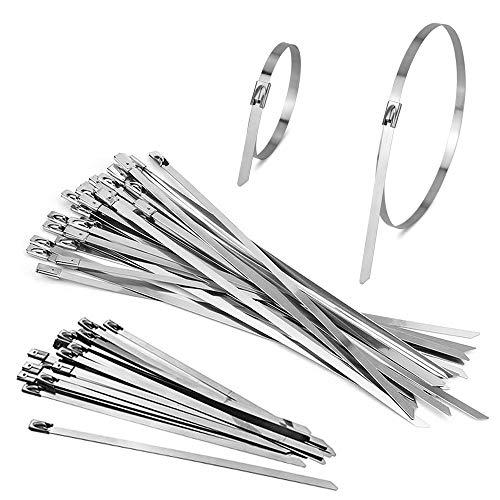 DECARETA 100 Stück Edelstahl Kabelbinder 20/30cm Lang Silber Metallkabelbinder Metall Kabel Binders Stahlkabelbinder für Draht Kabel