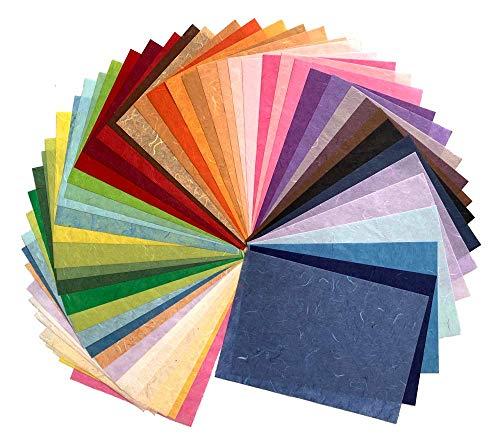 50 Blatt gemischte Farben, A4 Blätter, dünnes Maulbeer-Papier, Kunst, Washi-Papier, Design, Basteln, Origami, Lieferanten, Kartenherstellung