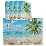 Oarencol, set di 4 tovagliette all'americana, con stella marina e palma, resistenti al calore, lavabili e lavabili per cucina, decorazione da pranzo