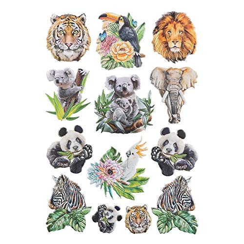 Ideen mit Herz Stickerbogen 3-D Relief-Sticker | Aufkleber | Hochwertig geprägt mit 3-D-Effekt | Din A4 Bogen mit verschiedenen Motiven (Tiere 02)