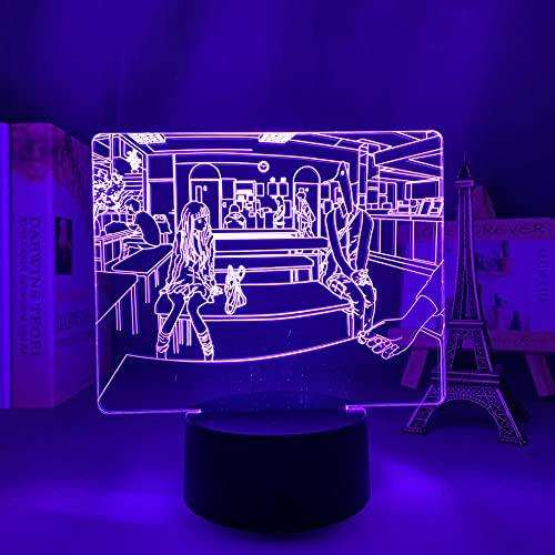 3D noche luz 3D LED ilusión lámpara anime figura siluetas buena punpun para decoración de dormitorio regalo de cumpleaños decoración de habitación manga buena punpunpun-Touch control