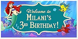 The Little Mermaid Ariel Birthday Banner Personalized Party Decoration