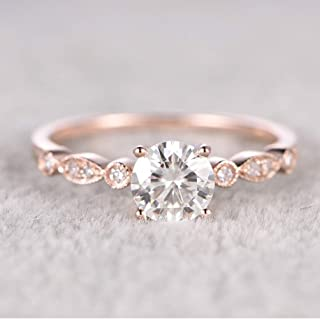 maledery 6.5mm Round Morganite Engagement Ring Diamond Wedding Ring 14k Rose Gold Milgrain Band for Women(Rose Gold,7)