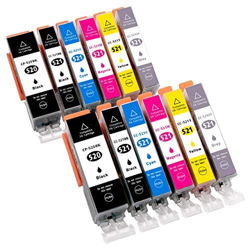 12 Druckerpatronen für CANON PIXMA MP980 MP990 MP 980 990 mit Grauen Patrone / KOMPATIBEL Patronen mit Chip einfach einsetzen und losdrucken / ersatz für Canon PGI-520BK CLI-521BK CLI-521C CLI-521M CLI-521Y CLI-521GY
