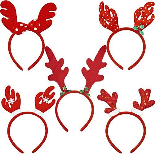 ZSWQ Cerchietto Natalizio con Renna Cerchietto di Renna, per Capelli Renne di Natale Forniture per Feste, Copricapo di Celebrazione di Natale, Cabina Fotografica.etc,5Pcs