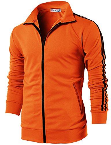 H2H Mens Workout Slim Fit Lightweight Line Training Full Zip-up Jacket Orange US L/Asia XL (CMOJA0103)