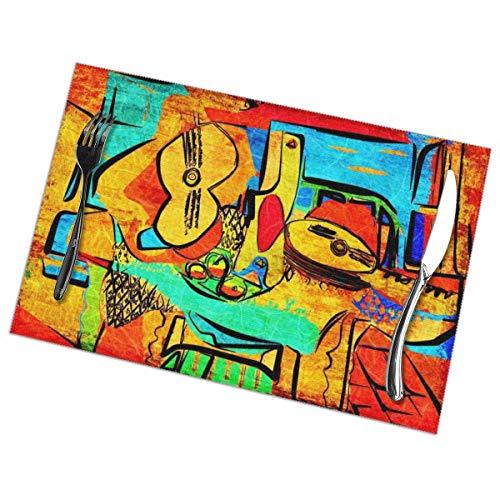 Picasso - Manteles individuales de PVC con aislamiento térmico, resistentes a las manchas, para mesa de comedor, cocina, mesa