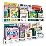 Wallniture Utah 32' White Nursery Bookshelves Wall Mounted, Wood Floating Book Shelves for Kids Room Set of 2