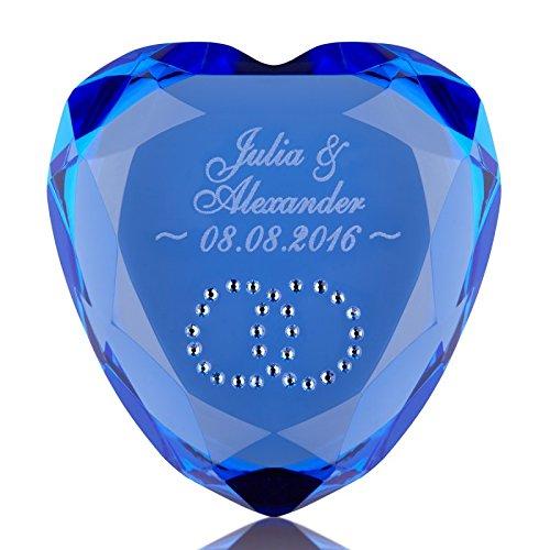 Liebesherz mit Gravur blau - exklusiver Herz Diamant - romantische Geschenkidee - Ideen Herz als Liebesbeweis zu Hochzeit, Jahrestag, Valentinstag - symbolische Geste für Sie + Ihn - mit Wunschgravur