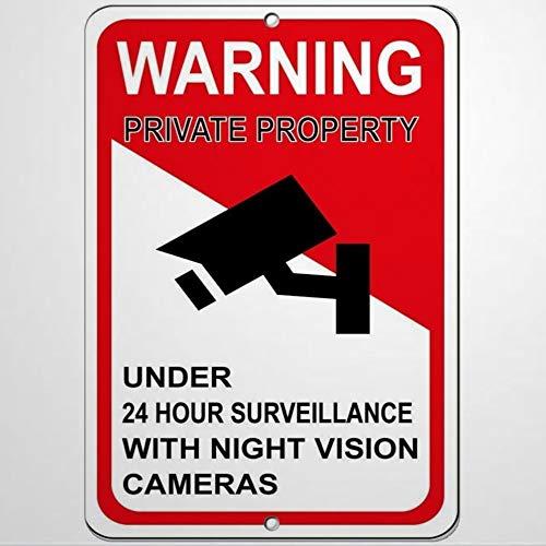Señal de advertencia de la propiedad privada de menos de 24 horas, señal de advertencia para cámaras de vigilancia de 20 x 30 cm, letrero de negocios de aluminio y metal para exteriores