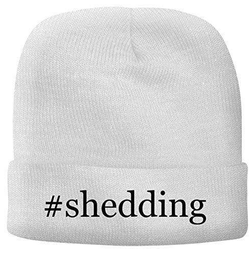 BH Cool Designs #Shedding - Men's Hashtag Soft & Comfortable Beanie Hat Cap, White, One Size
