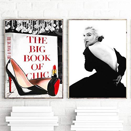 zszy zwart wit Marilyn Monroe muurkunst canvas mode High Heels Boook rode lippenstift poster en prints schilderijen schilderijen decor-50x70cmx2 stuks geen lijst