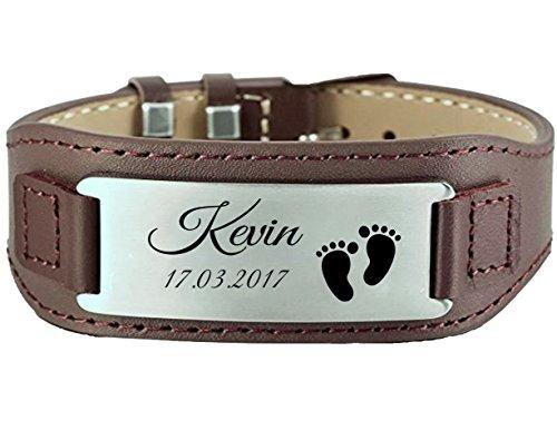 aplusashop ID Leder Armband mit Edelstahlplatte inkl. Gravur nach Wunsch in 3 Farben + Box (Braun + Silberne Platte)