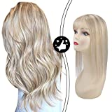 Moresoo 10 Inch Hidden Crown Hair Extensions 12x6cm Hair Pieces for Women Topper Highlighted Colored 18 Brown Mixed with 613 Bleach Blonde Hair Topper Mono