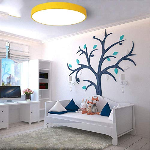 Lámpara de araña decorativa, de techo, 30 cm, ultrafina, de color LED, redonda, para salón, dormitorio, estudio, de hierro forjado, gris, blanco, H