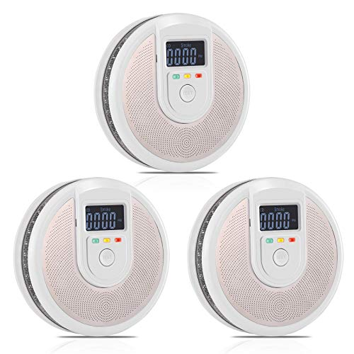 Combination Carbon Monoxide and Smoke Alarm Detector- Battery Operated with LCD Display and Voice Warning Alarm, for House, Garage, Hotel, Complies with UL 217 and UL 2034 Standards(3 Pcs)