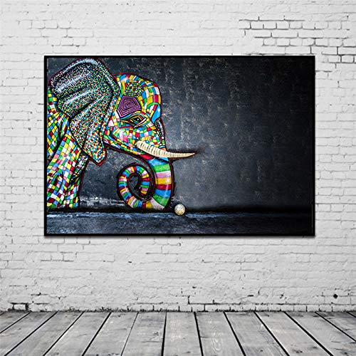 N / A Colorful Elephant Graffiti Art Wall Canvas Painting Abstract Art Poster for Home Room Decoration Frameless 50x75cm