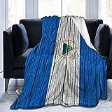 AOOEDM Nicaragua Decke mit Holzstruktur, Nicaraguan-Flagge, weich, für alle Jahreszeiten, Microplüsch, warme Bettdecken, leicht, getuftet, flauschig, Flanell-Fleece-Überwurf für Sofa & Couch