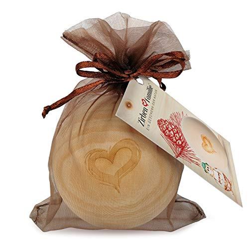 Zirben Familie - bekannt aus dem Fachhandel & der Hotellerie • ZirbenKugel • Duftende Holzkugel mit Herz Gravur • Holzkugel aus ZirbenHolz