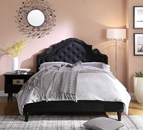 Best Master Furniture Ilena Upholstered Fabric Platform Bed, Cal. King, Black