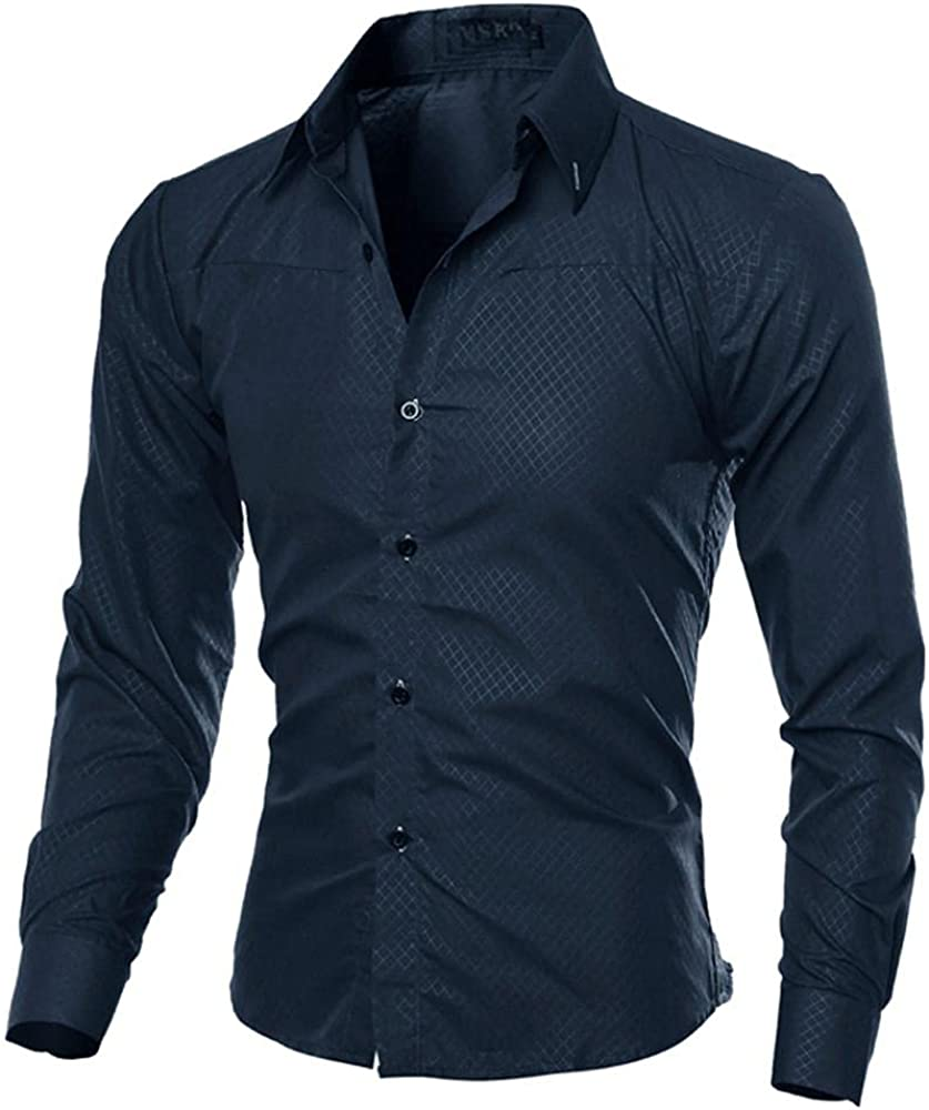 KEEYO Mens Casual Slim Fit Dress Shirts Wrinkle Free Long Sleeve Work Business Formal Cotton Button Down Shirts Tops(02-Navy,3X-Large)