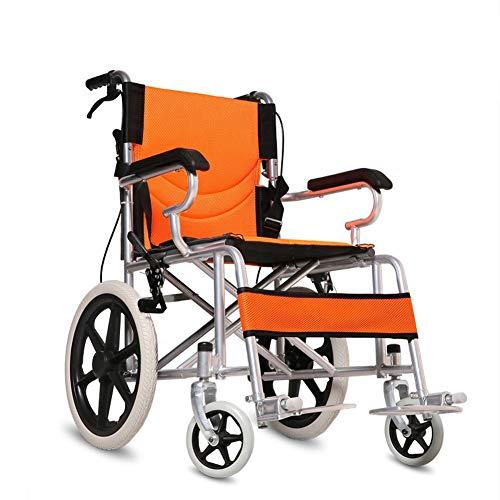 WXJHA Leichte Transport Rollstuhl mit regulierbaren Arm- und Handbremsen tragbarer Falten Transport Stuhl Extra Wide Thick Stahlrohr tragbarer Reise Trolley Kinder Senioren Rollstuhl,Orange