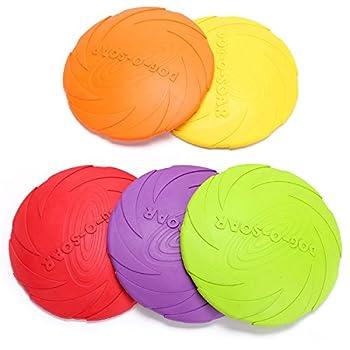PETCUTE Frisbee pour Chiens Disque 2 pièces Disque Volant pour Chien Jouets Interactif pour Chiens en Caoutchouc
