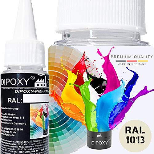 25g Dipoxy-PMI-RAL 1013 PERLWEIß Extrem hoch konzentrierte Basis Pigment Farbpaste Farbmittel für Epoxidharz, Polyesterharz, Polyurethan Systeme, Beton, Lacke, Flüssigfarbe Kunstharz Schmuck