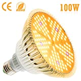 100W LED Plant Light Bulb - Flowlamp 150 LED Grow Light Bulb for Indoor Plants, 160 Degree E27 Full Spectrum Plant Grow Lamp for Vegetables Flower Hydroponic Seed Organic Growing Greenhouse Plants