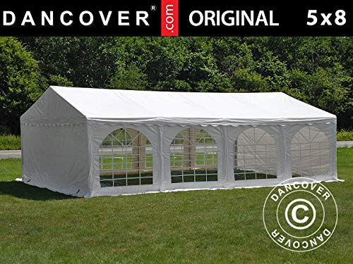 Dancover Partyzelt Pavillon Festzelt Original 5x8m PVC, Weiß