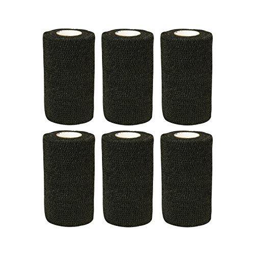 Haftbandage/Selbsthaftende Bandage für Haustiere,6Rollen x 10cm x 4,5m, 10-450cm, schwarz