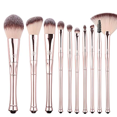 Les Pinceaux De Maquillage 10 Pcs Pinceau De Maquillage Set, Pinceaux De Maquillage Poignée Couronne Fibres Synthétiques Brosses Débutant Portable Pinceau Poudre, Contour,D'or