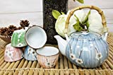 Ebros Gift Japanese Design Four Seasons Collection Spring White Cherry Blossom Ceramic Tea Pot and Cups Set Serves 5 Guests Excellent Colorful Home Decor Asian Living Decorative Accent Teapot sets
