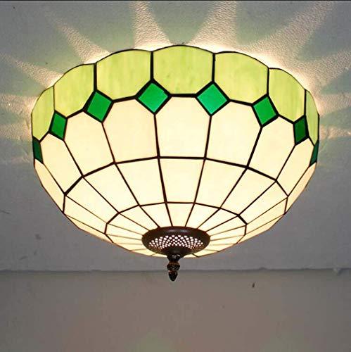 16 Inch Retro Tiffany Stijl 2-Licht Plafond Licht Flush Mount, Glas Schilderij Plafondlamp Ophanging, Vintage Kroonluchters Hanger Verlichting armatuur voor Woonkamer Slaapkamer, B