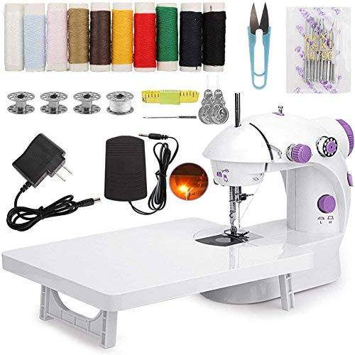 Mini Electric Sewing Machine, Portable Sewing Machine with Extension Table Foot Pedal Dual Speed Crafting DIY Tool Set for Beginner Household Travel