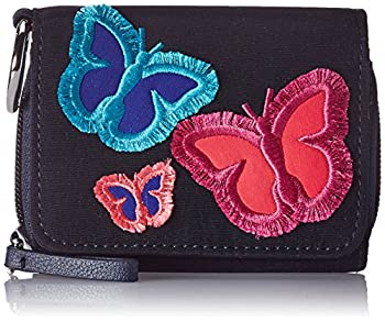 Vera Bradley women s Protection Microfiber RFID Card Case Wallet One Size Classic Navy Embroidered