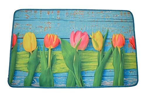 Centesimo Web Shop Tappeto Gommato Antiscivolo Multiuso Tappetino Passatoia Cucina Floreale Azzurro Tulipani Colorati Fiori Primavera Azzurro - Azzurro - 50x80 cm