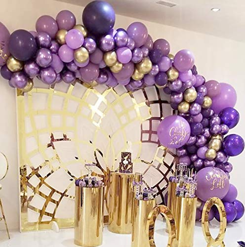 Beaumode DIY Lavender Purple and Gold Balloon Garland Kit for Kids Birthday Wedding bridal shower baby shower Mermaid photo backdrop Bachelorette Party Decoration