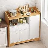 Aparador de sala de estar Mesa de sala de almacenamiento de buffet de cocina Mesa de sala con puertas Gabinete de barra de entrada Alacena de cocina ( Color : White+brown , Size : 80x30x83cm )