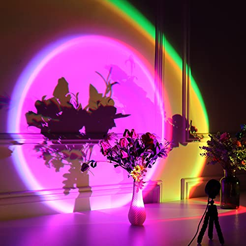 Sunset Lamp Projection, 16 Colors Changing Projector LED Mellow Floor Lamp Rainbow Night Light 360 Degree Rotation for Photography/Party/Home Decor/Bedroom Living Room Bring Modern Sunset Red Lamp