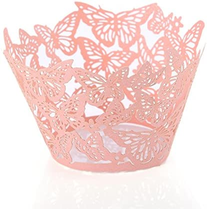 50Pcs Lot Lovely Butterfly Paper Cups Lace Laser Cut Cupcake Paper Wrappers Wedding Baking Cup product image