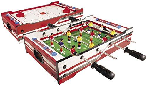 Carromco Multi-Spiel 2in1 – Multigame Spieltisch mit 2 Tischspielen, Tischhockey mit 2 Pushern und Pucks auf der einen Seite, Tischfußballspiel mit 2 Bällen auf der anderen Seite